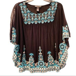 INC International Con Embroidered Sheer Top PS